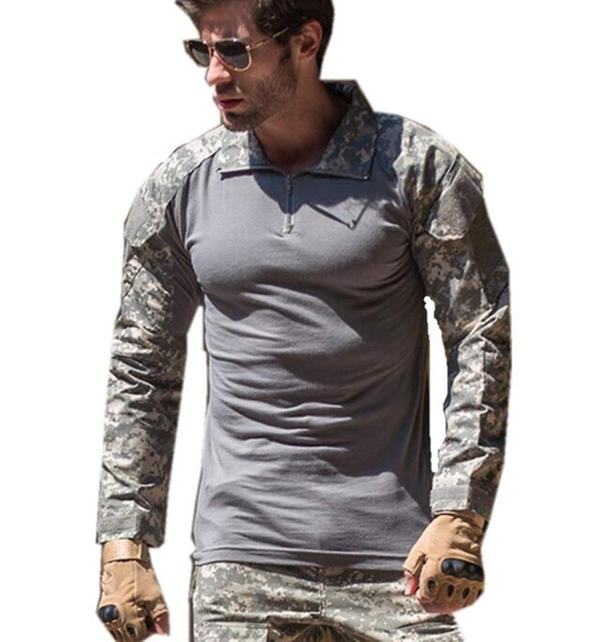 WINDCHASER Men's Tactical Military Combat Slim Fit T Shirt Long Sleeve Camouflage
