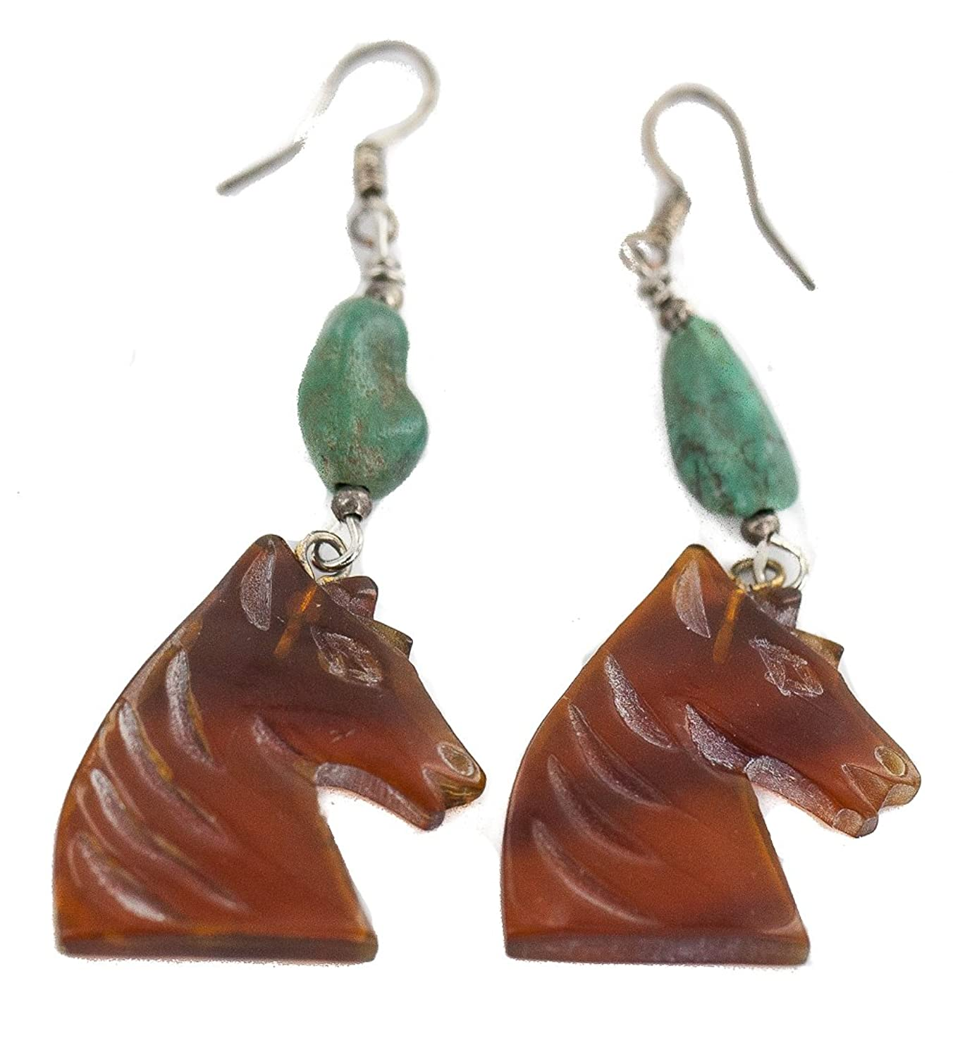 $90 Retail Tag Carved Fetish Horse Silver Hooks Authentic Made by Charlene Little Navajo Natural Turquoise Resin Native American Dangle Earrings