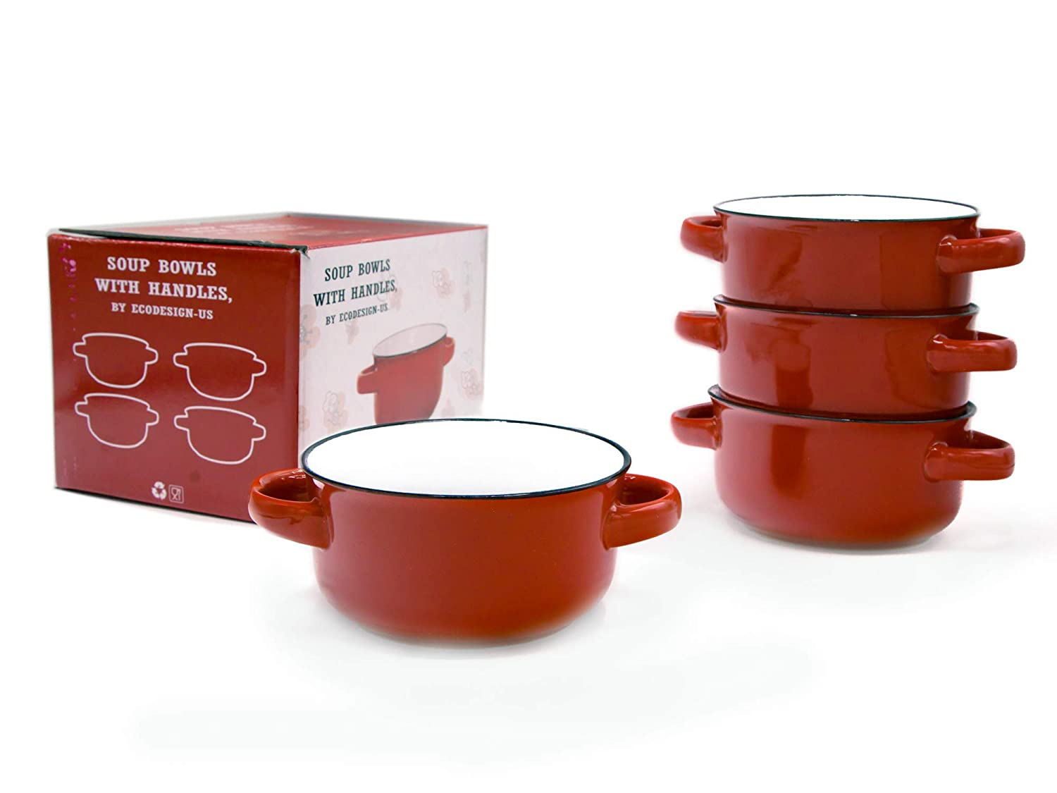 Baking Serving Ceramic Red 16 Oz Soup Bowls with Handles - Set of Four - Stoneware Chowder Bisque Pot Pie Crocks