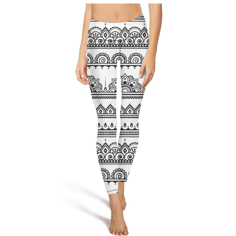Womens Mehndi Art Indian Folk Pattern Black Workout Running Leggins Tummy Control Essential Yoga Pants with Pockets