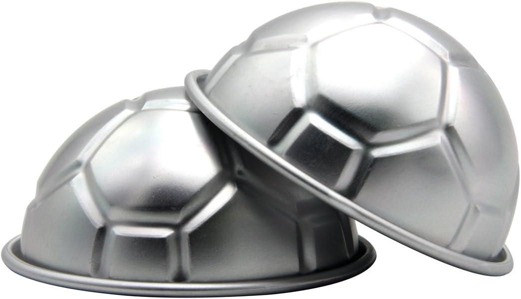 cadillaps 3d Fútbol molde para hornear tartas (semiesférica (aleación de aluminio 2 utensilios de cocina, Aleación de aluminio, plata, 8 cm: Amazon.es: Hogar