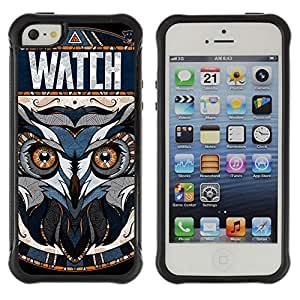 Hybrid Anti-Shock Defend Case for Apple iPhone 5 5S / Awesome OWL Pattern Tattoo