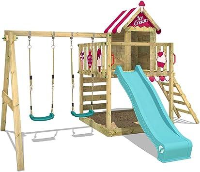 WICKEY Parque infantil de madera Smart Candy con columpio y tobogán turquese, Casa de juegos de jardín con arenero y escalera para niños: Amazon.es: Bricolaje y herramientas