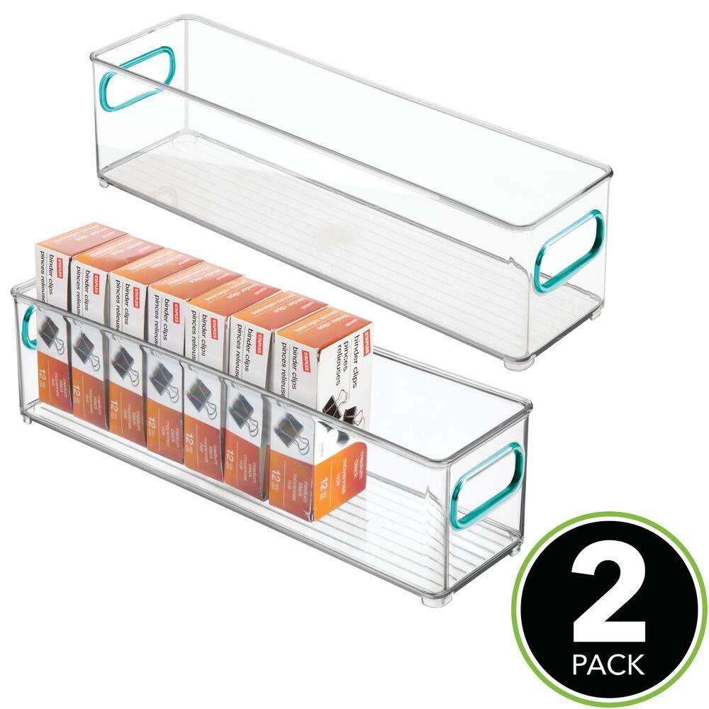 ba/ño o Material de Oficina Cajas organizadoras para Cocina Organizador de Escritorio en pl/ástico MetroDecor mDesign Caja de almacenaje con Asas integradas Transparente//Azul