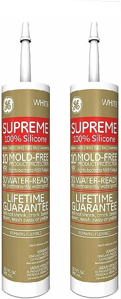 Ge Kitchen & Bath 100 % Silicone, Fastest Curing Silicone White 9.8 Oz, pack of 2