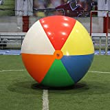 Multiple Ways 120 x 120 x 120 A New 10' Beach ball (inflated size 96'') Rainbow Color Inflates Balls Kids and Adult Toys for Indoor and Outdoor or Beach Pool Play Have Fun to The Children Gifts Colors Varied