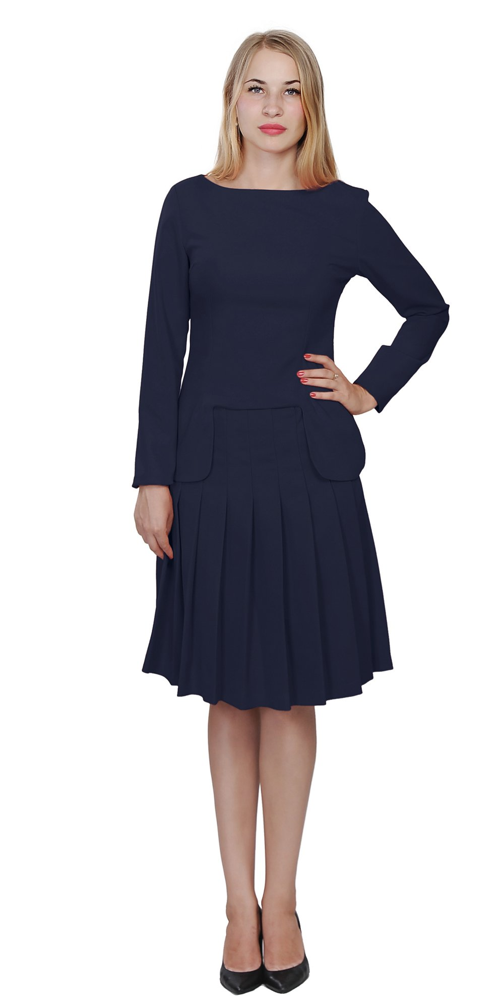 Marycrafts Womens Church Office Business Skirt Suits W Long Sleeves 16 Dark Blue