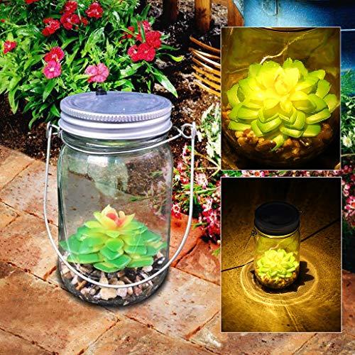 Sodoop LED Nightlight, Portable Bright Artificial Succulents Solar Mason Jar Lights Bottle Nightlights for Patio Outdoor Night Lamp,Birthday Gifts,Nightlights for Children,Birthday Gifts (A)