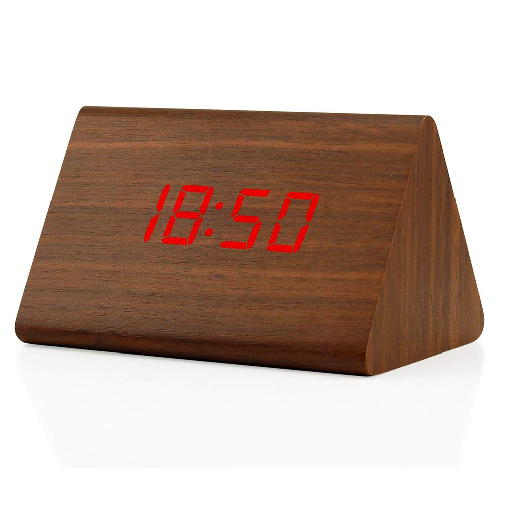 GEARONIC TM Modern Triangle Wood LED Wooden Alarm Digital Desk Clock Thermometer Classical Timer Calendar Updated 2018 Brighter LED - Black AX-AY-ABHI-101108