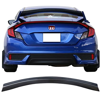 Top Gurney Flap Fits 2016-2018 Honda Civic All Trims | Transparent Smoke Acrylic Trunk