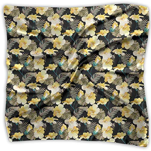Womens Girl's Colorful Pattern With Yellow Hibiscus Print Square Kerchief Scarf Head Wrap Neck Satin Shawl