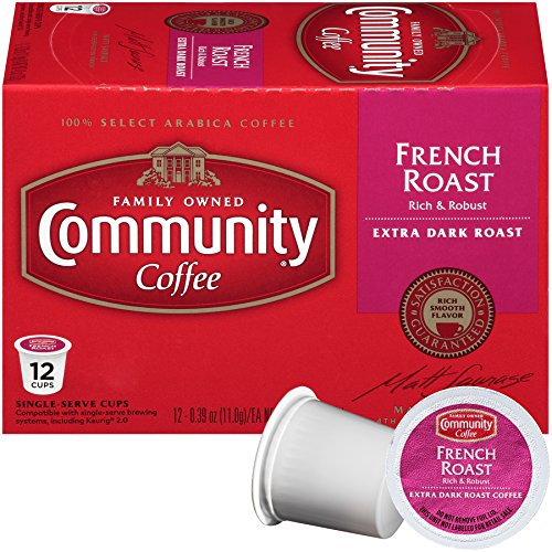 Community Coffee French Roast, Dark Roast, 12 Count Single Serve Coffee Pods, Pack of 3, Compatible with Keurig K-Cup Brewers