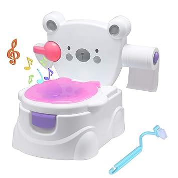 Glenmore Lernt/öpfchen Baby T/öpfchen f/ür Kinder Kindertoilette mit Hoher Toilettentrainer Gepolsterte Sitzfl/äche R/ückenlehne und Haltgriff Rosa