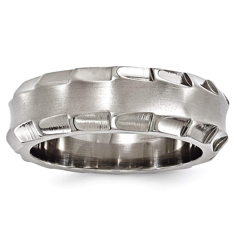 Lex /& Lu Edward Mirell Titanium Faceted Edges Brushed /& Polished 8mm Ring