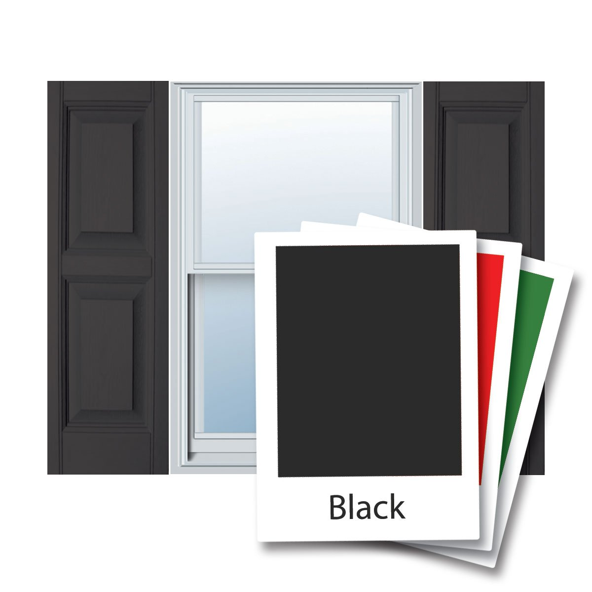 12'' x 59'' Builders Choice Vinyl Raised Panel Window Shutters, w/Shutter Spikes & Screws (Per Pair), Black