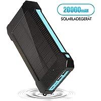 Powerbank 20000 mAh tragbares Externer Akku Solar Ladegerät für iPhone, iPad, Samsung Galaxy und viele mehr