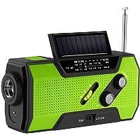 Aozbz zonne-handslinger voor noodgevallen, zelfbediende noodradio, weerradio, 2000 mAh-powerbank, lichte zaklamp…