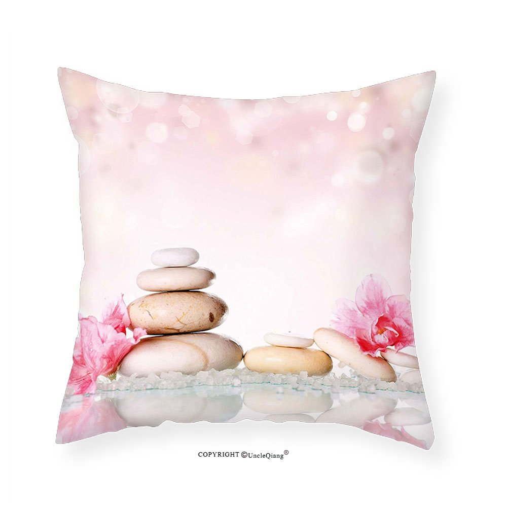 VROSELV Custom Cotton Linen Pillowcase Spa Bohemian Zen Stones and Soft Petals Therapy Tradition Chakra Yoga Asian Picture for Bedroom Living Room Dorm Light Pink Peach 18''x18''
