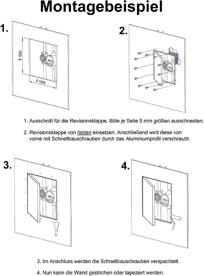 Revisionsklappe 300 x 300 mm Revisionst/ür 30x30 cm Trockenbau Gipskarton 12,5mm Wartungsklappe mit Aluminium-Rahmen Wartungs/öffnung Feuchtraumgeeignet gr/ün