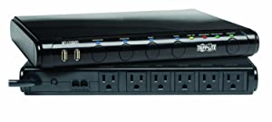 Tripp Lite 6 Outlet Under-Monitor Isobar Surge Protector Power Strip, 2 USB, 8ft Cord, Tel/Modem/Fax Protection, RJ11, $100,000 Insurance (MT-6PLUS)