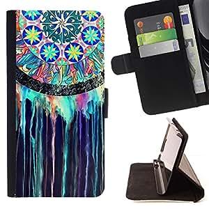 For LG G2 D800 Case , Colector ideal indio del vitral de la acuarela- la tarjeta de Crédito Slots PU Funda de cuero Monedero caso cubierta de piel