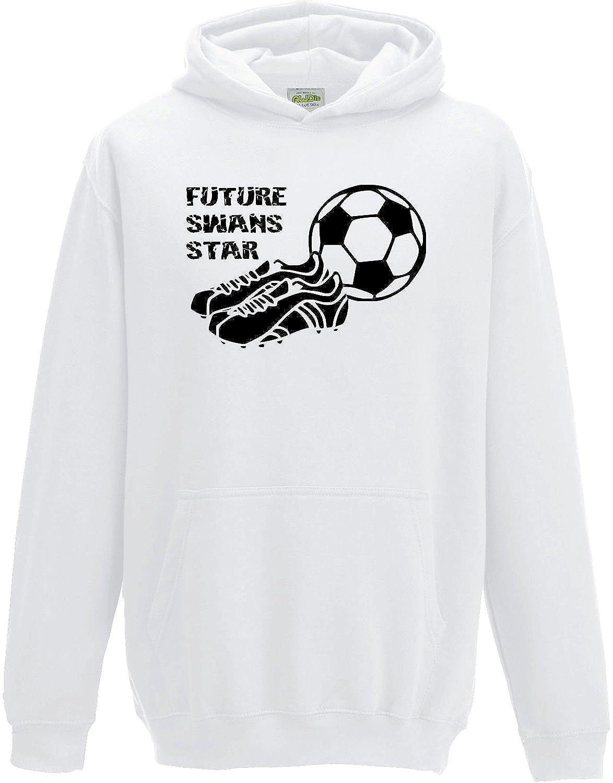 Hat-Trick Designs Swansea City Football Baby/Kids/Childrens Hoodie Sweatshirt-White-Future Star-Unisex Gift