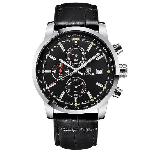 Reloj Casual de Cuarzo para Hombre, con Correa de Piel marrón, cronógrafo, Resistente
