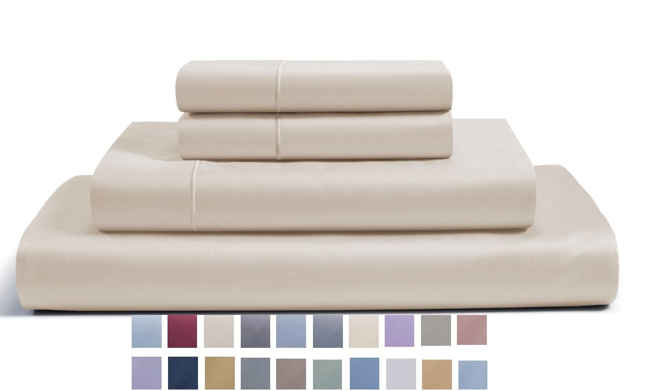 CHATEAU HOME COLLECTION 800-Thread-Count Egyptian Cotton Deep Pocket Sateen Weave Sheet Set (KING, Cameo)