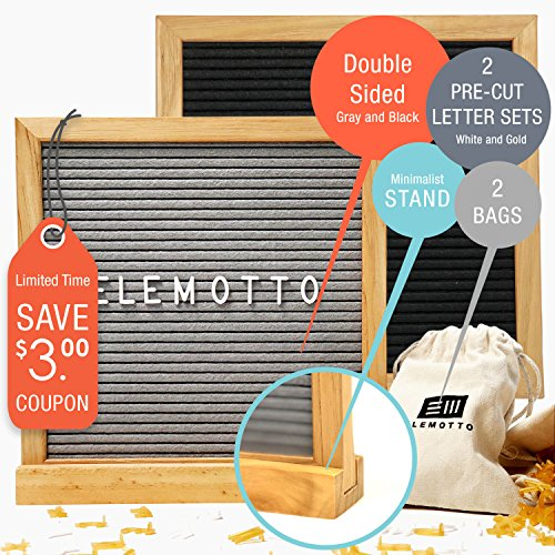 Changeable Letter Board Reversible 10 x 10 with Pre-Cut Letters & Minimalist Stand Double Sided Message Board 670 White & Gold Characters Symbols & Emojis Solid Oak Frame 2 Canvas (Table Message Frame)
