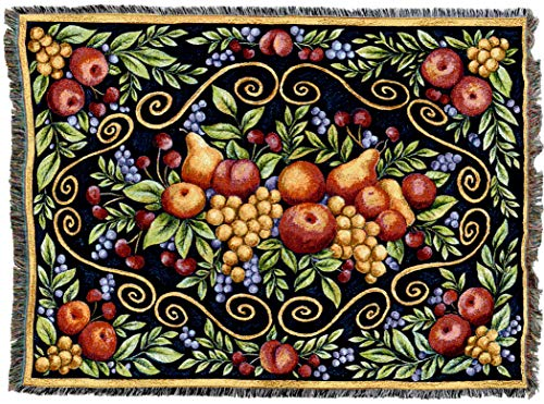 Pure Country Weavers | Fruit Design Woven Tapestry Throw Blanket with Fringe Cotton USA 72x54 ()