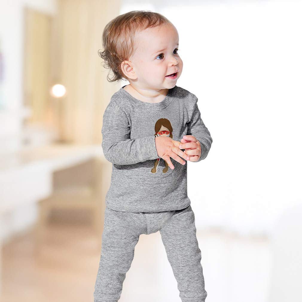 Iron Man Girl Brown Cotton Crewneck Boys-Girls Sleepwear Pajama 2 Pcs Set