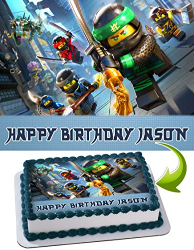 LEGO NINJAGO Personalized Cake Toppers Icing Sugar Paper A4 Sheet Edible Frosting Photo Birthday Cake Topper 1/4 ~ Best Quality! Edible Cake Image