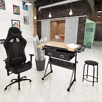 vidaXL Mesa de dibujo inclinable con silla de oficina: Amazon.es ...