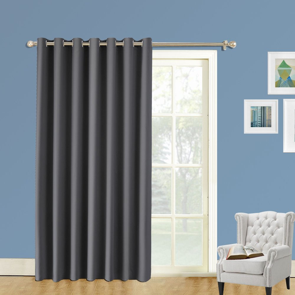 LIFONDER Extra Wide Room Divider Curtains - 8ft Tall x 10 ft Wide Soundproof Blackout Curtain Panel with Grommet Top: No One Can See Through, Total Privacy (Gray, 1 Pc)