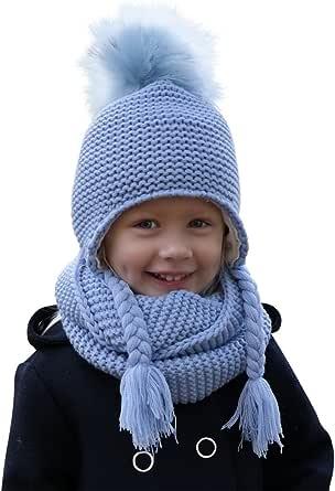Hilltop 100% algodón: Conjunto de invierno para niños conjunto de bufanda redonda y gorro con orejeras a juego. Para niños con edades de 1, 1/2 a 3 años de edad.