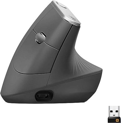 Logitech MX Vertical Ratón Inalámbrico Ergonómico, Multi-Ordenador, 2,4 GHz/Bluetooth con Receptor Unifying USB, Seguimiento Óptico 4000 DPI, 4 ...