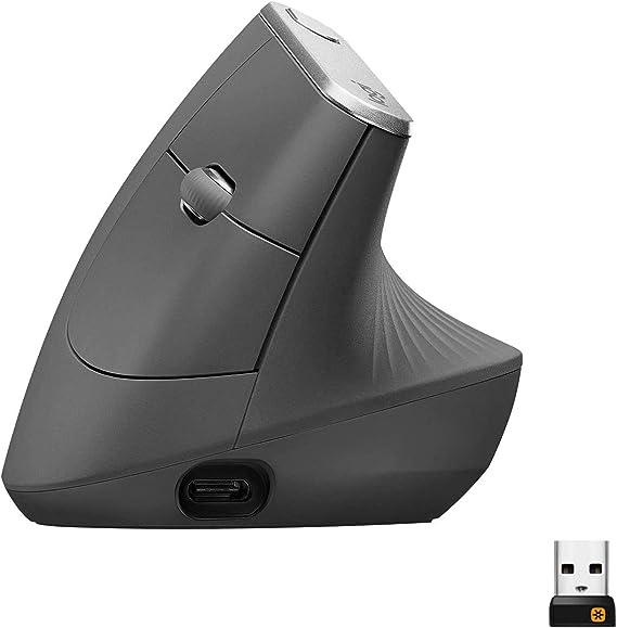 Logitech MX Vertical Ratón Inalámbrico Ergonómico, Multi-Ordenador, 2.4 GHz/Bluetooth con Receptor Unifying USB, Seguimiento Óptico 4000 DPI, 4 Botones, Carga Rápida, Portátil/PC/Mac/iPad OS, Negro: Logitech: Amazon.es: Informática