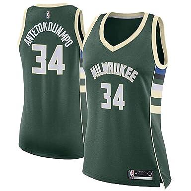 promo code 0adca bf4a5 Amazon.com: Green Giannis Antetokounmpo #34 Milwaukee Bucks ...