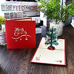 SaveStore 1pc Pop Up Card Handmade Christmas Tree 3D Christmas Cards Greeting Card with Envelope for Xmas Gift Christmas Holiday