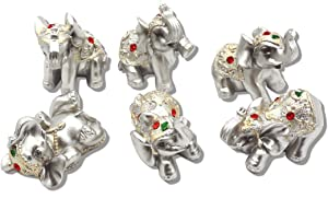 Silver Resin Small Elephants Statues Home Decor Collection Gift Set of 6 BS122 (Silver)