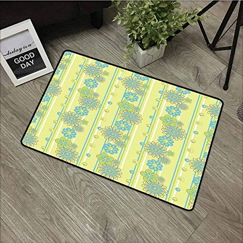 LOVEEO Doormat,Yellow and Blue Blooming Ornate Flower Motifs Vertical Stripes Dots,for Outdoor and Indoor,35