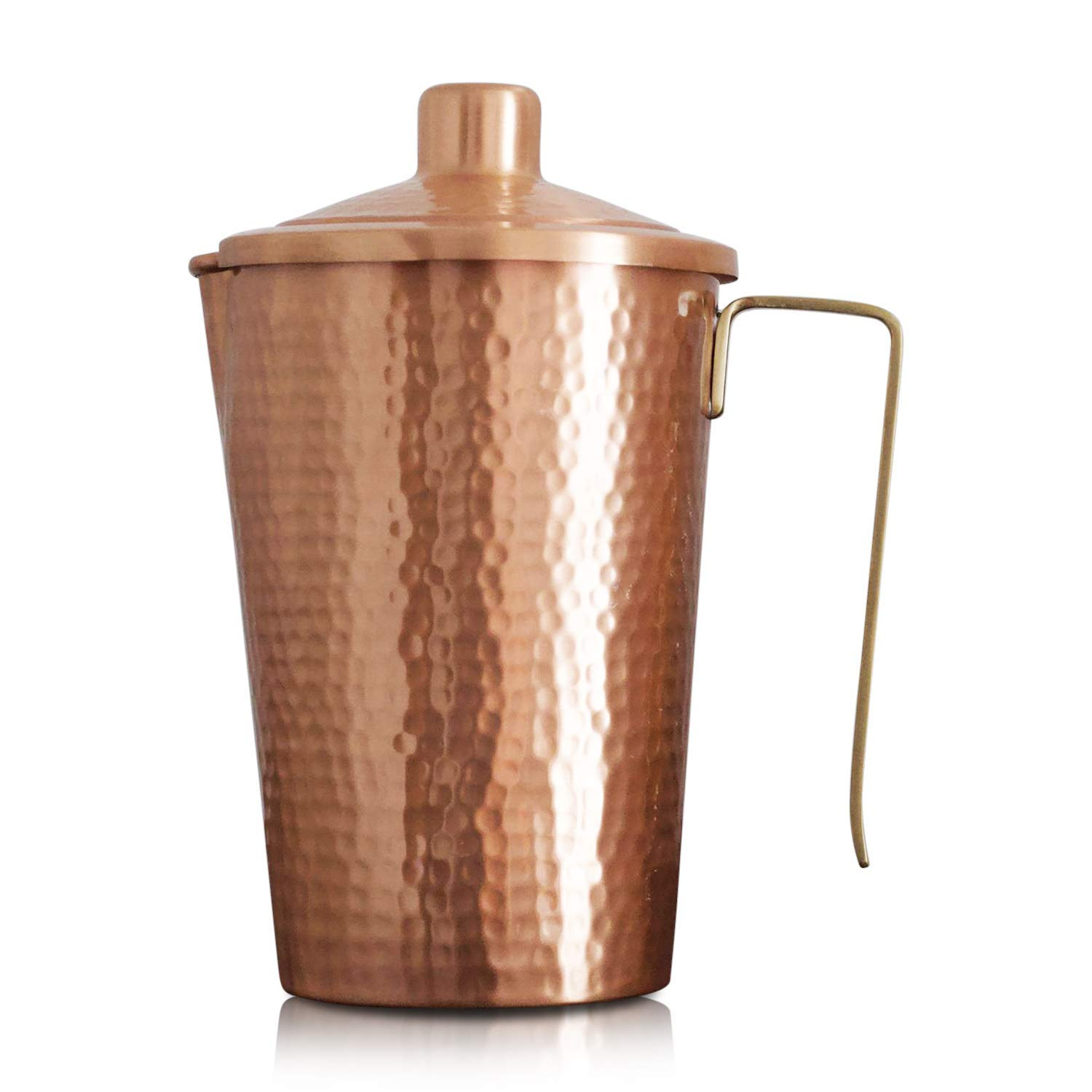 Kosdeg Copper Pitcher With Lid 44 Oz - Drink More Water, Lower Your Sugar Intake And Enjoy The Health Benefits Immediately - 100% Pure Copper Handmade Hammered Jug, Made From Heavy Gauge Copper