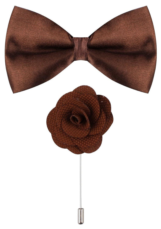 Ceajoo Brown Bow Tie Flower Lapel Pins For Men Lapel Flower Pin