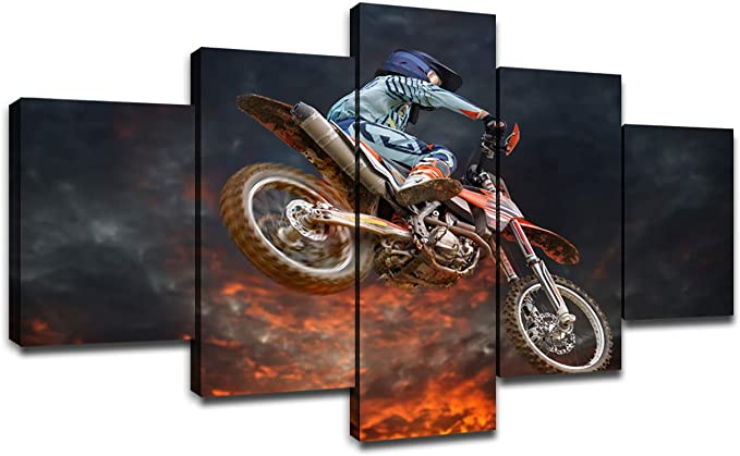 Dirt Bike Wall Art Canvas Prints Modern Painting Motocross Rider Picture For Living Room Decor Framed Poster Large Artwork Bedroom Decoration Ready To Hang 60 Wx32 H Posters Prints Amazon Com