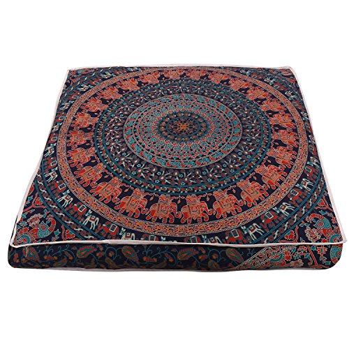 Beautiful Mandala Floor Square Pillowcase Pillow Meditation Cushion Seating Throw Cover Decorative Bohemian Boho Indian Cover Only (35 inch/89 cms)