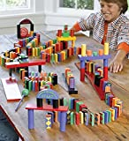 HearthSong® 255 Piece Wooden Domino Rally Race STEM Based Learning Set in Bright Colors and Fun Patterns