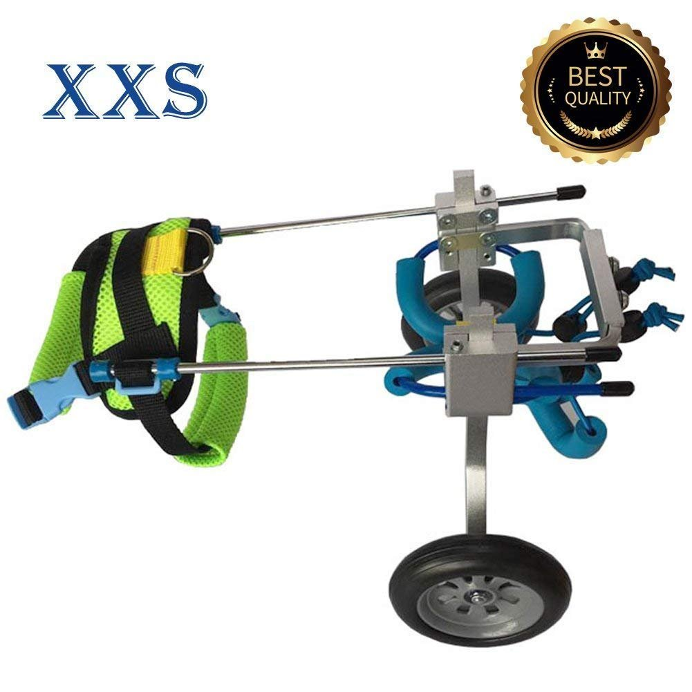 XXS, Height 6.25\ Dog Wheelchair 6 Sizes Cart Pet Wheelchair for Handicapped Hind Legs Small Dog Cat Doggie  Puppy walk Stainless XXS-L (XXS, Height 6.25 -9.5 , 2.2-13.2 lb)