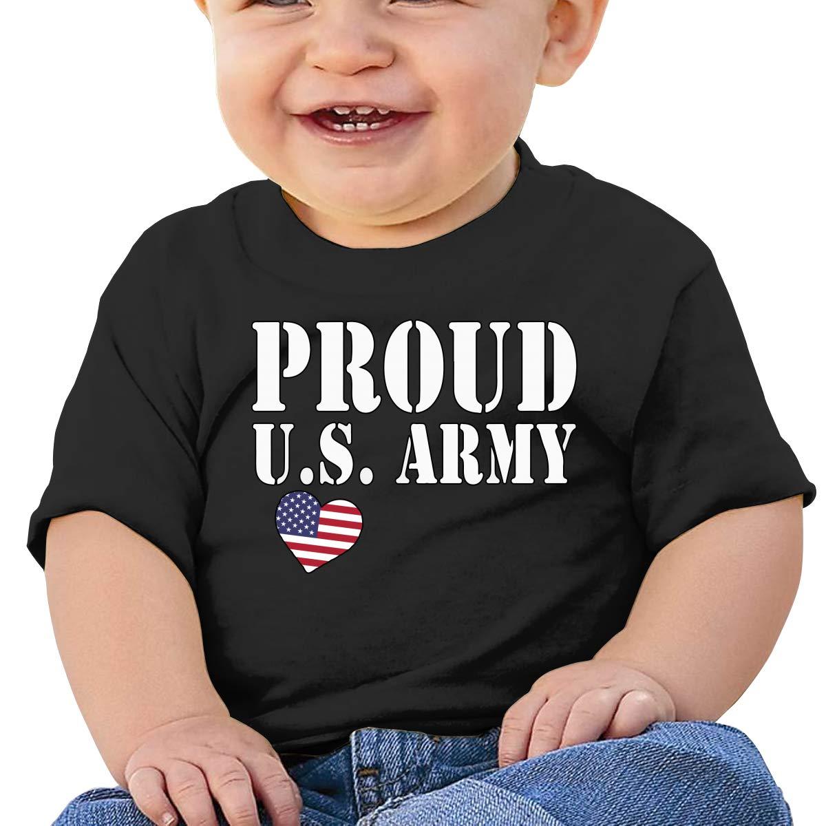 Proud U.S ZUGFGF-S3 Pride Military Army Boy Girl Newborn Short Sleeve T Shirts 6-24 Month Cotton Tops