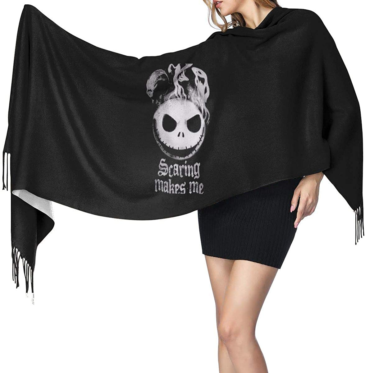 The Nightmare Before Christmas Cashmere Wrap Shawl Stole For Women Winter Extra Large Solid Lambswool Pashmina Scarf