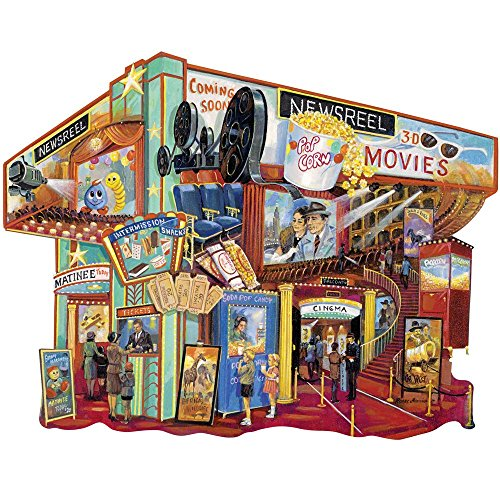 Bits and Pieces - 750 Piece Shaped Jigsaw Puzzle for Adults - Movie Memories - 750 pc Cinema and Popcorn Jigsaw by Artist Ruane Manning (Adult Memory)
